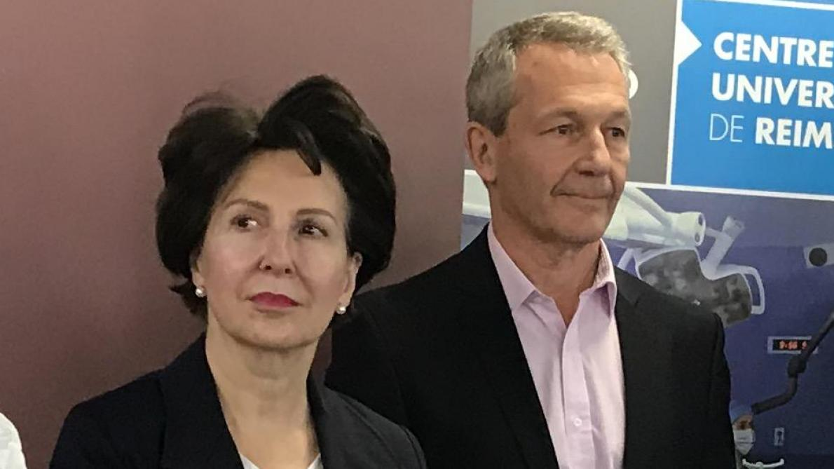 Dominique De Wilde et Philippe Rieu, le 23 janvier, lors de la cérémonie des voeux du CHU.