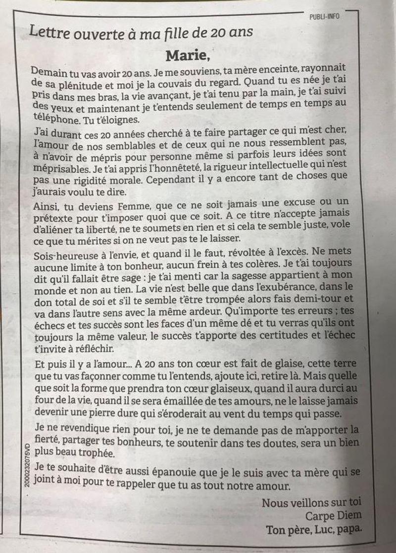 La Déclaration Damour Dun Père à Sa Fille Dans Les