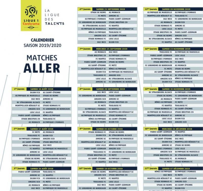 Calendrier Ligue 1 2019 2020.Football Le Calendrier De Ligue 1 Devoile Monaco Lyon Et