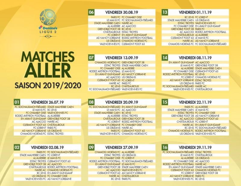 Calendrier Match Lens.Le Calendrier Complet De La Saison 2019 2020 De Ligue 2